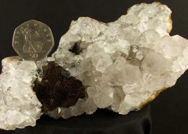 quartz with black tourmaline pillow